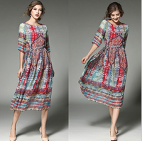 spring and summer women's round neck sleeve in Europe and the United States printed Slim chiffon long paragraph dress