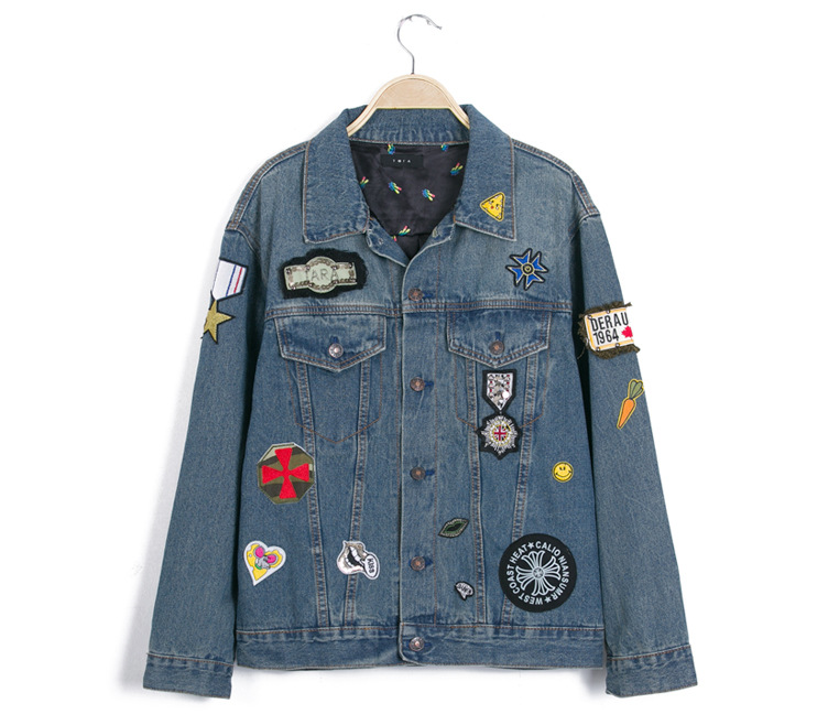 C50092A New Korean Style Fashion Women Painting Flower Denim Jackets Ladies Jeans Coats