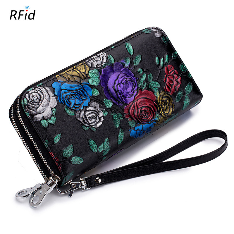 Rose Flower Double Zipper Ladies Genuine Leather Wallet Many Card Pockets Women Clutch Wallet With Wristband