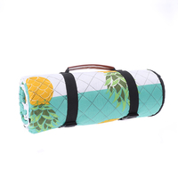 Custom Portable Printed Quilted Picnic Blanket Beach Mat With Tote Outdoor Waterproof Aluminum Coating