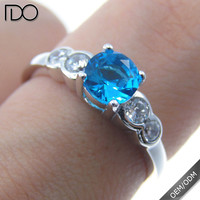 Many certified zircon engagement ring blue