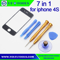 7 in 1 Outer Front Glass Lens Replacement Front Panel and screwdriver pry tool set For IPhone 4S