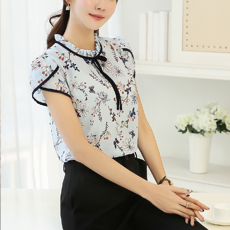 Images Of Chiffon Tops Tie Neck Floral Blouse For Middle Aged Women