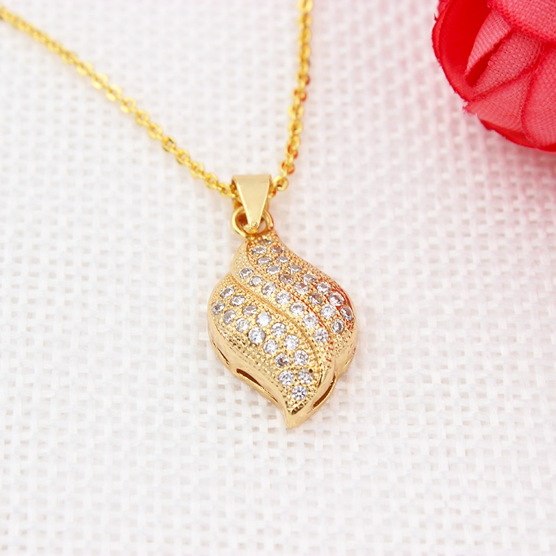 DTINA Shell Grain Shape Gold Plated Necklace Zircon Pendant Sets Rapper Lucky Jewelry Charm, 18 k gold