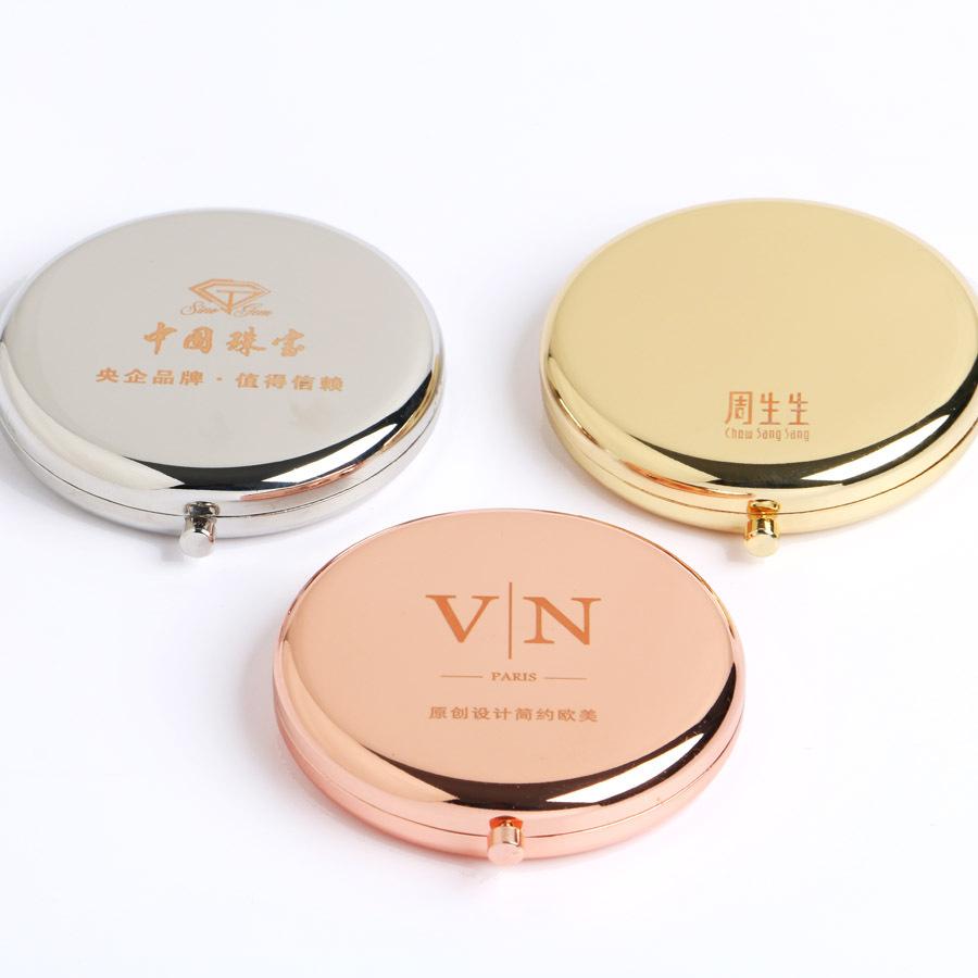 Wholesale metal Compact Pocket Hand Make up cosmetic Makeup mirror custom logo printing, Customized color