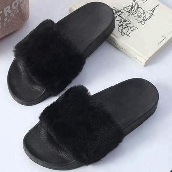 9327bc0a61544c 2018 Nova Moda Inverno Logotipo Personalizado Slides Sandália Mulheres Faux  Fur Chinelo - Buy Chinelos De Pele Preto Para As Mulheres,Pele Preta ...