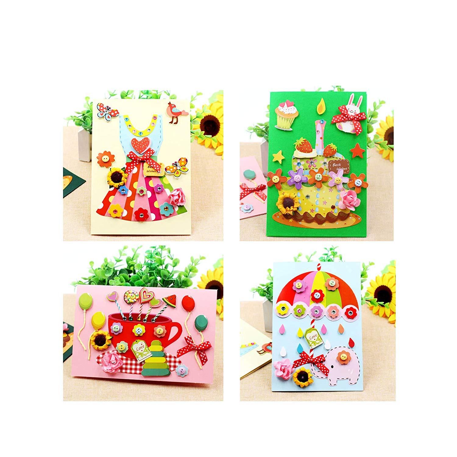Get Quotations Card Making Kits DIY Handmade Greeting For Kids Christmas Folded Cards And