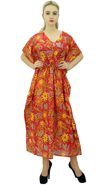 386d4e4de4 Phagun Ladies Floral Cotton Maxi Kaftan Designer Dress Caftan Night Gown