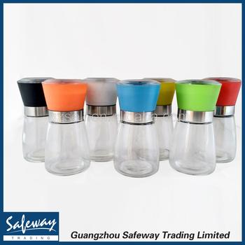 Colored Salt And Pepper Grinder Set Glass Bottle With