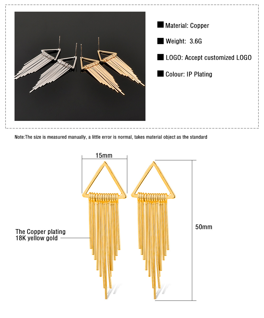 New Products Fashion Women Jewelry Ladies Gold Triangle Tassel Earring