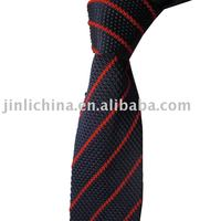 polyester grey and red striped knitted necktie