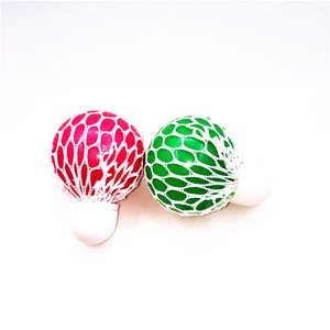 2019 Hot Sell TPR Grape Toys Squishy Mesh Ball Squeeze Net Ball With Cap