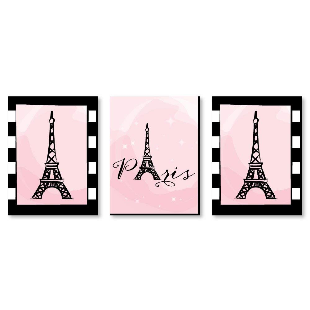 "Paris, Ooh La La - Baby Girl Nursery Wall Art, Kids Room Decor & Eiffel Tower Home Decorations - 7.5"" x 10"" - Set of 3 Prints"