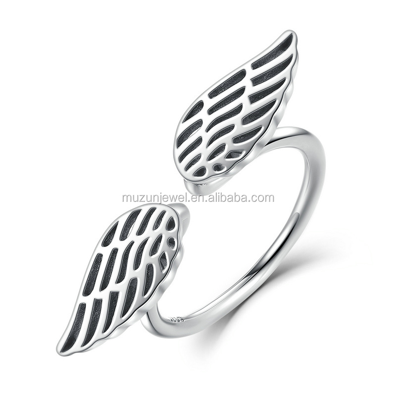 New Antique Angel's Wings Jewelry 925 Sterling Silver Adjustable Open Mouth Ring for Women