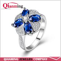 New Arrive Fine Jewelry 18K White Gold Blue Zircon Flower Ring Brand Fashion Flower Clear Full Crystal Rings For Women Bague