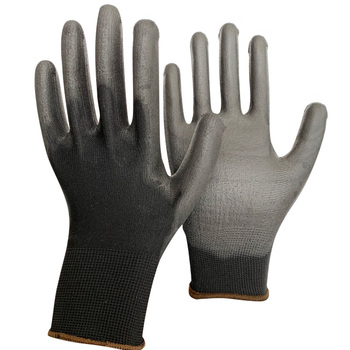 13g knitted Black pu glove nylon breathable pu protective gloves antistatic pu palm coated gloves