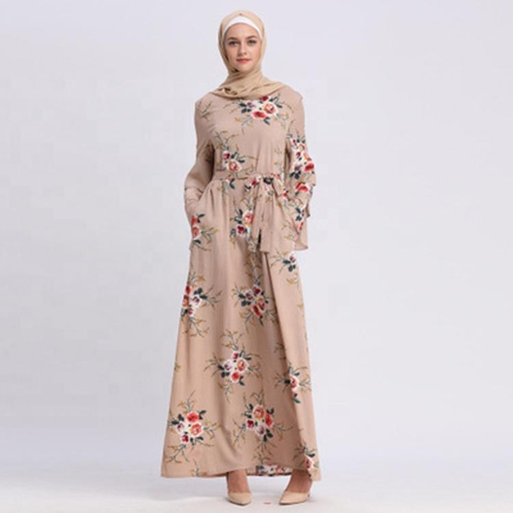 2019 fashion print unique black chiffon abaya size 60 prayer clothing, Support customization