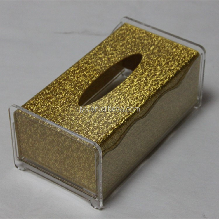 Golden Pearl Acrylic Tissue Box Luxury Hotel Custom Tissue Box