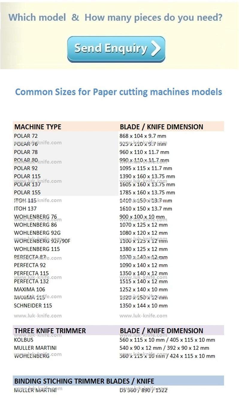 Polar 115 Papier schneiden maschine messer Guillotine Intarsien T1 HSS