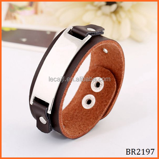 Alibaba Online Yiwu Trendy Women and Mens Stainless Steel Bar Link genuine leather bracelet with metal plate