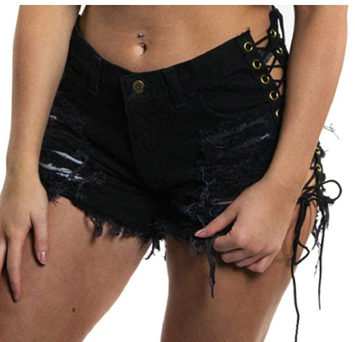 mydeshop Women's Lace up Short Jeans Ripped Sexy Stretchy Destroyed Denim Shorts