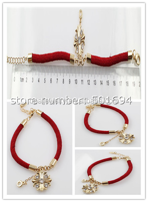 Wholesale High Quality Red Waxed Rope Crystal Silver Plated Shamballa Bracelet With Magnetic Clasp