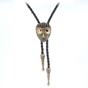 Classic alloy mask mens long sweater chain leather bolo tie necklace
