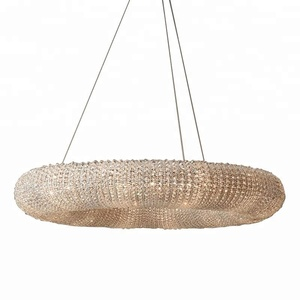 Modern Large and luxury round ring Pendant Light K9 chain crystal chandelier for hotel decorative
