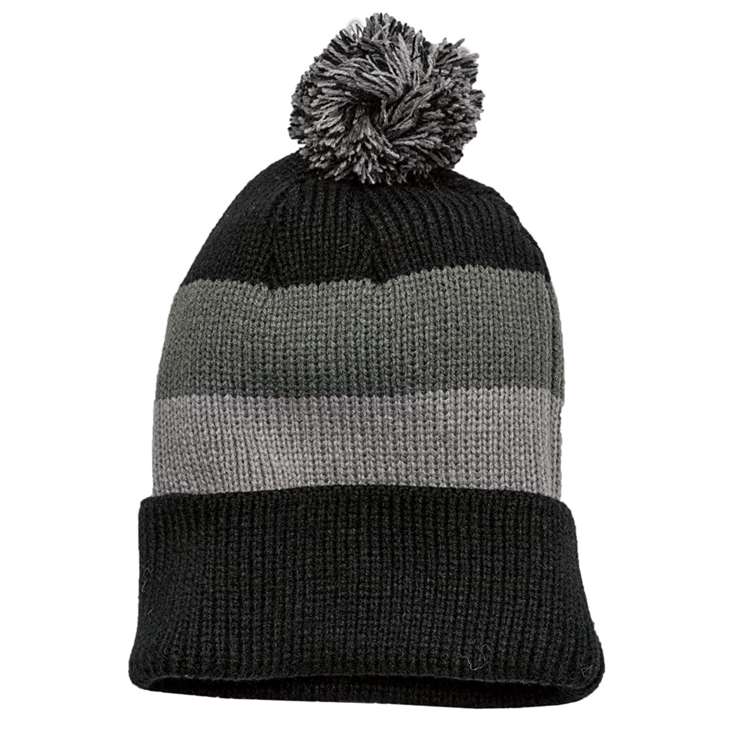 f3b1c9f426a Get Quotations · Vintage Striped Acrylic Winter Beanie Hat with Removable  Pom