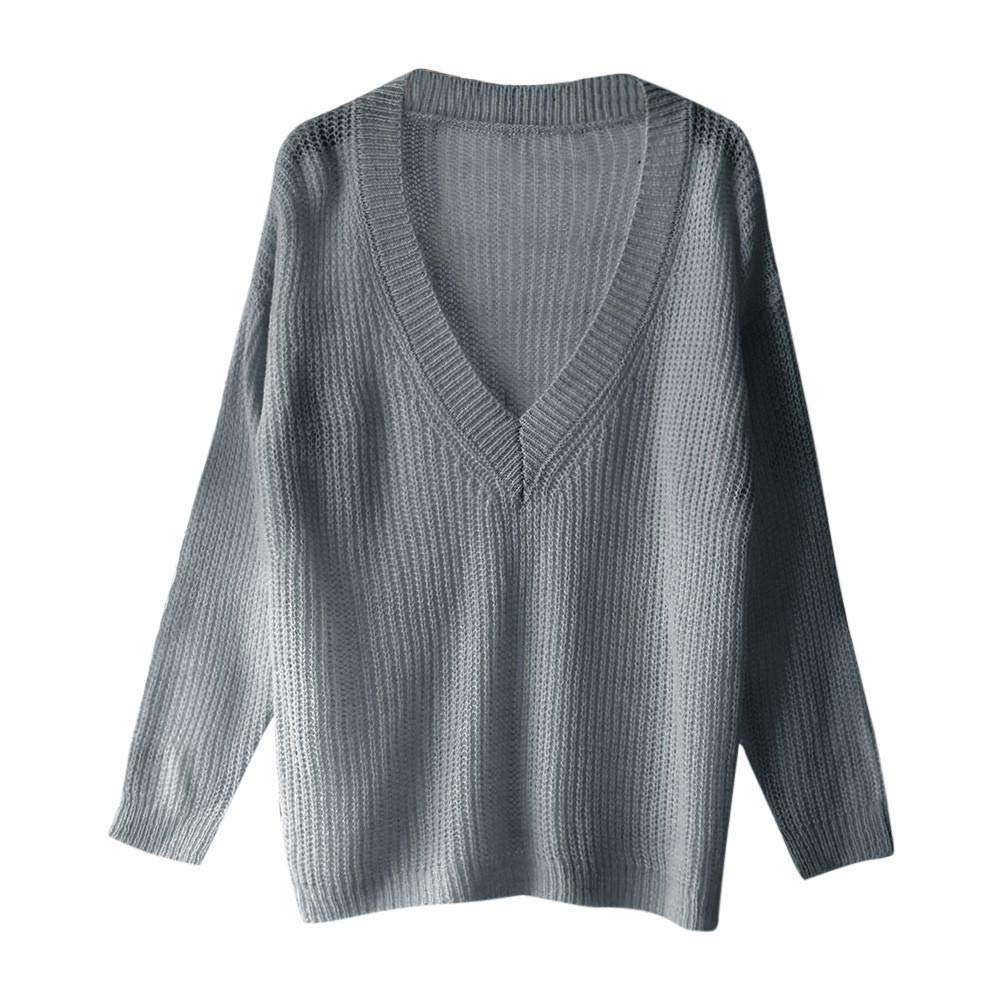 Dream_mimiWomen's Solid Color Long-Sleeved V-Neck top Loose Knit V-Neck Sweater top (M, Black)