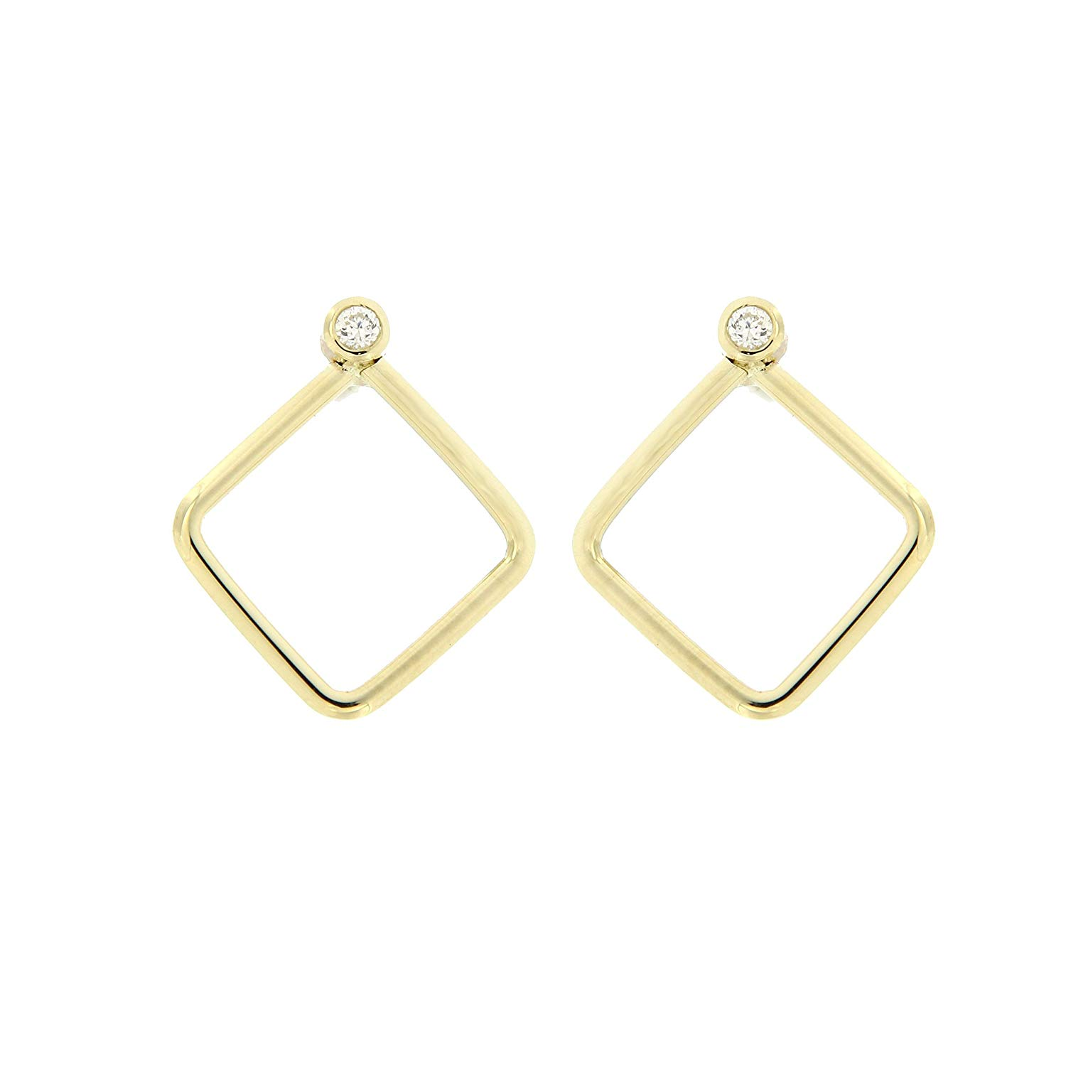 bfa36deb8 Get Quotations · Gold Square Earrings Simple Diamond Studs for Women 14K  Solid Gold Minimalist Geometrics Tiny Diamonds Everyday