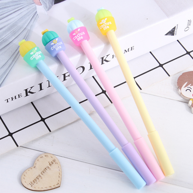 Hot Sale Creative Full Cactus Shape 0.5mm Plastic Cute Cartoon Pen