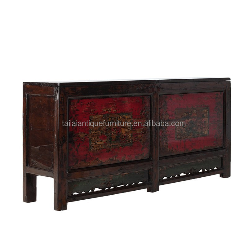 Chinese Antique furniture Gansu floral painted cabinet