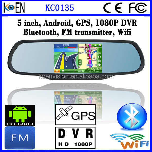 2015 FM Wifi 5.0 Inch Screen 1080P DVR Bluetooth Android Rearview Mirror For Lexus ES350 GPS Navigation