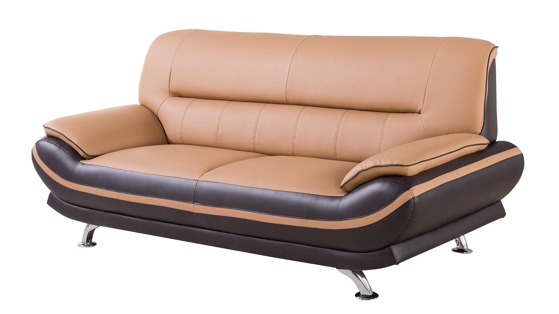 American Eagle Furniture Upholstered Leather Sofa with Added Base Support and Pillow Top Armrests, Yellow/Brown