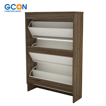 Commercial Shoe Storage Cabinet Solid Wood Shoe Cabinet Space Saving  Furniture