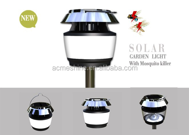 Mosquito repellent fence post cap led multi function portable cordless outdoor solar light