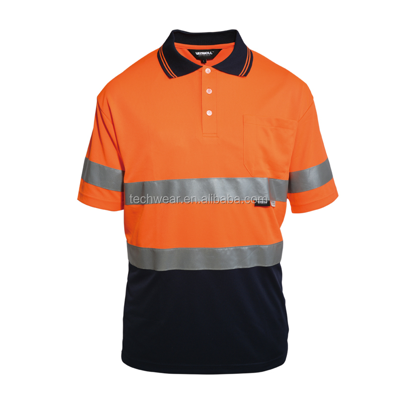 Wholesale hi-vis 100% polyester reflective running polo shirts 3M tape Orange/Navy