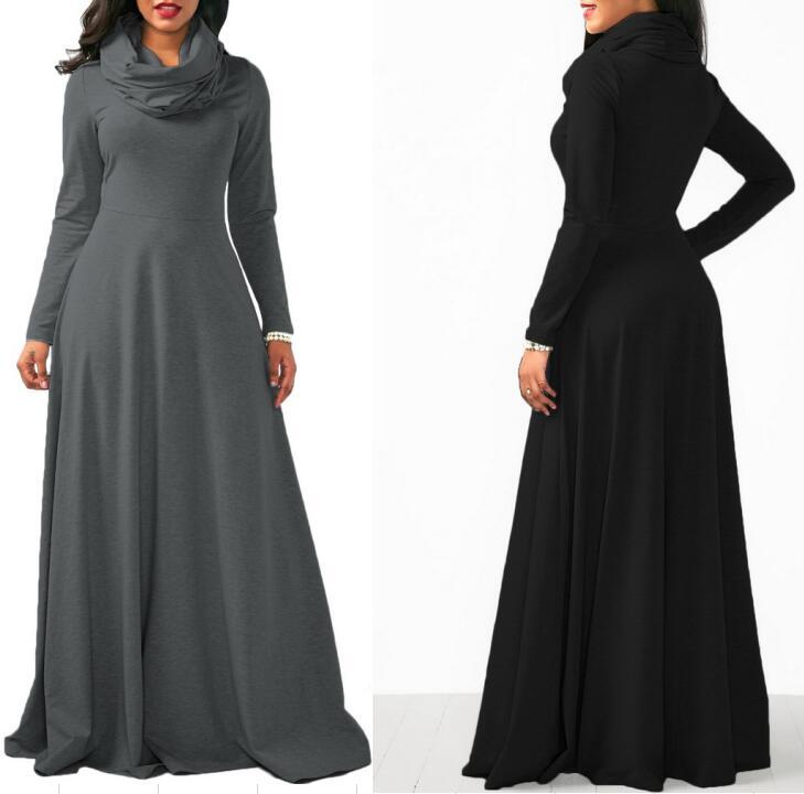 Groothandel Drop verzending 2019 nieuwe Vestidos Amazon ebay Winter Lente Sexy Katoen Zwarte Dame jurken vrouwen lange mouw maxi jurk