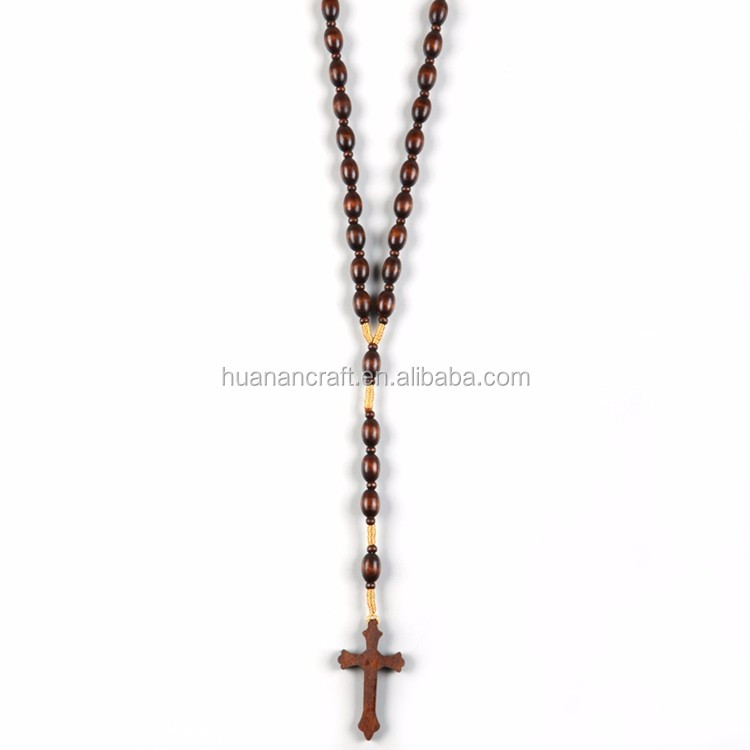 Fashion handmade wooden beads rosary with cross
