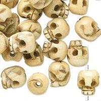 Antiqued bone 14x12mm carved skull beads
