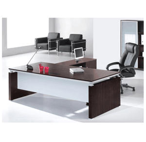 Executive L-Shaped Office Desk Crafted From MDF & Walnut Veneer Finish