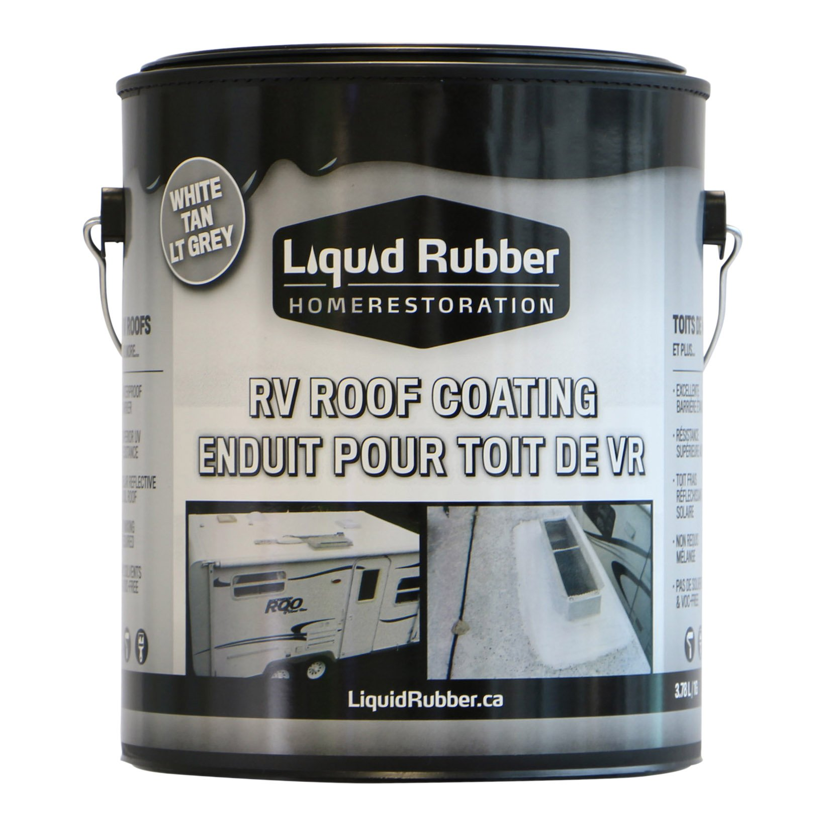 Liquid Rubber RV Roof Coating/Sealant - 1 Gallon - Brilliant White - Solar Reflective Cool Roof - Waterproof - Environmentally Friendly - No Solvents or VOC's - Easy to Apply - No Mixing - TOP SELLER