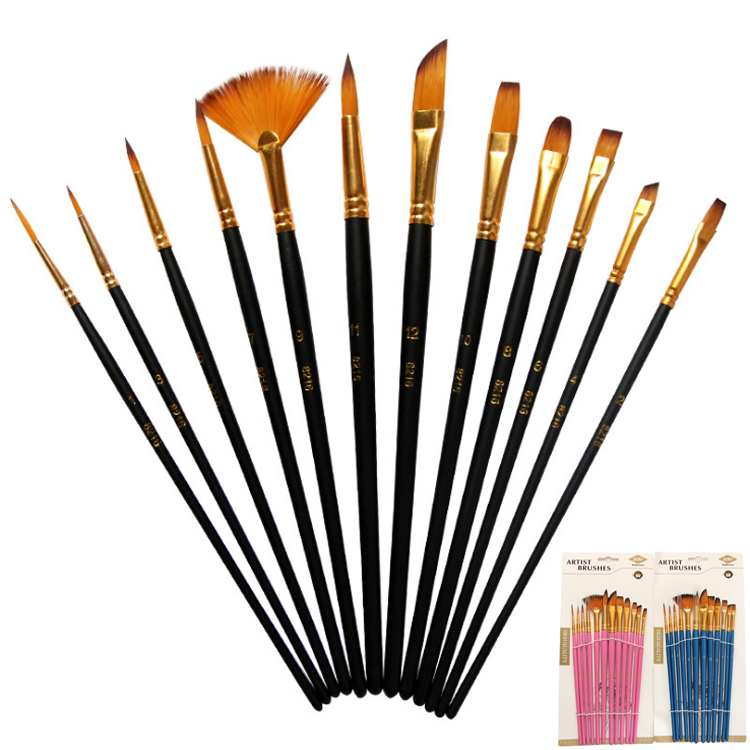Factory Art Supplies 12 Pcs/Set Arts Brush Wood Handle Durable Smooth Nylon Hair Oil Painting Watercolor Paint Artist Brush