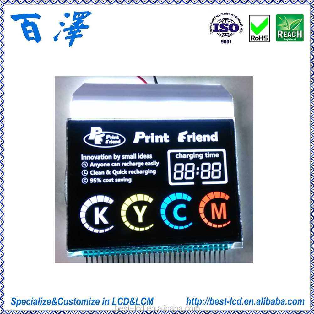 30 pins LCD Display PMVA TN Negative LCD glass with White backlight