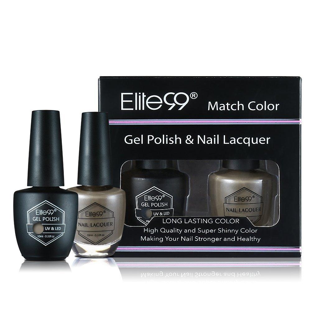Elite99 Match Color Gel Polish & Nail Lacquer Set, UV LED Soak off Nail Gel Polish, Long Lasting Color Nail Varnish, with Gift Box 10ml Taupe Model