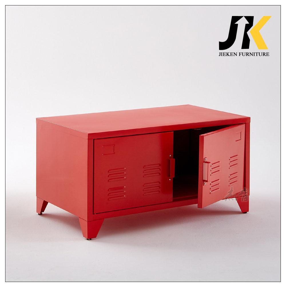 Living Room Furniture Red White Pink Black Grey Modern Metal Two Doors Steel Tv Stands Cabinet Design