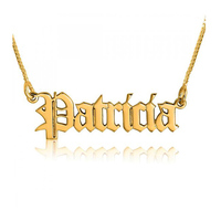 Fashion gothic accessories initial old English custom nameplate jewelry personalized name women necklace