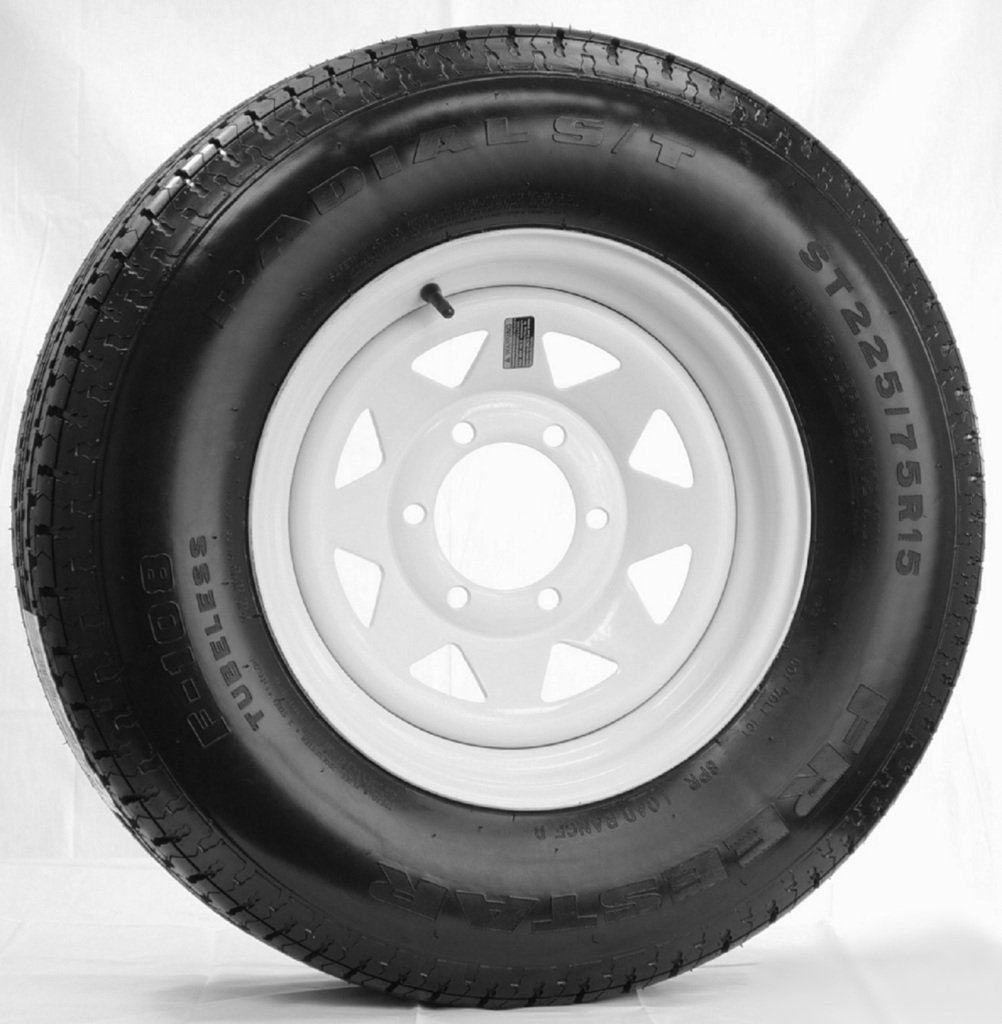eCustomRim Radial Trailer Tire + Rim ST225/75R15 225/75-15 15 D 6 Lug Wheel White Spoke