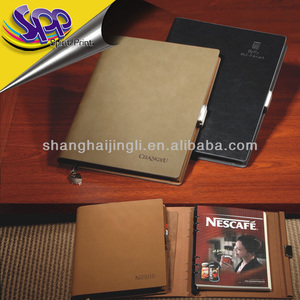 Genuine leather notebook with elastic closure for wholesale notebook adapter